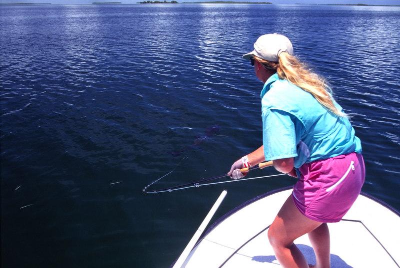 Wendy Gunn Fighting Tarpon Fly Fishing Belize