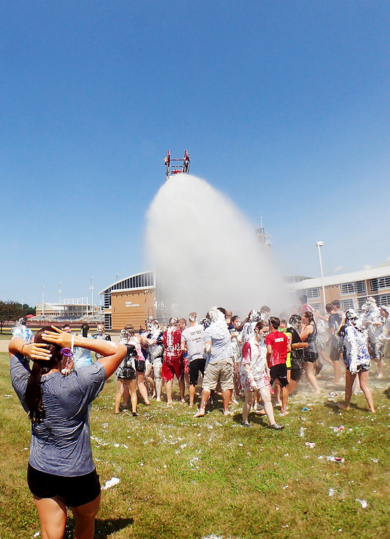 . Jonathan Tressler � The News-Herald <br> A scene from the Perry High School Marching Band�s Shaving Cream Showdown July 27 at Perry High School.