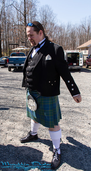 The groom in a kilt