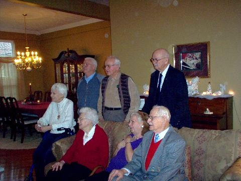 Back row: Uncle Alfred, Uncle Louie, Uncle Leonard. <br /> Front row: Aunt Reggie, Grandma, Aunt Helen, Uncle Harry
