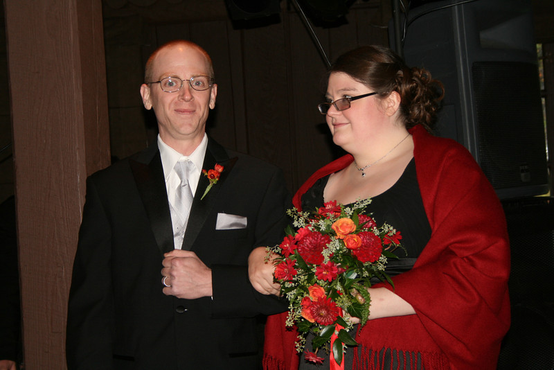 Josh and Paula entering the hall