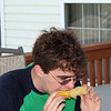 Chris eating corn  (photo by mom)