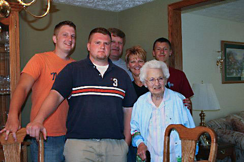 Grandma,  Jon, David, Uncle David, Aunt Karen,  Jeff  (Photo by Mom)