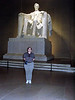 Shannon in front of Lincoln.