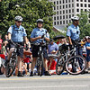 bike patrol getting ready for the parade