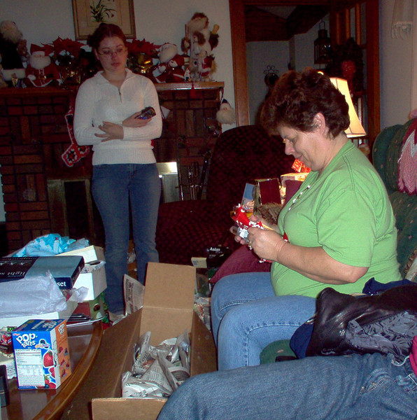 Mom opening the box of stuff