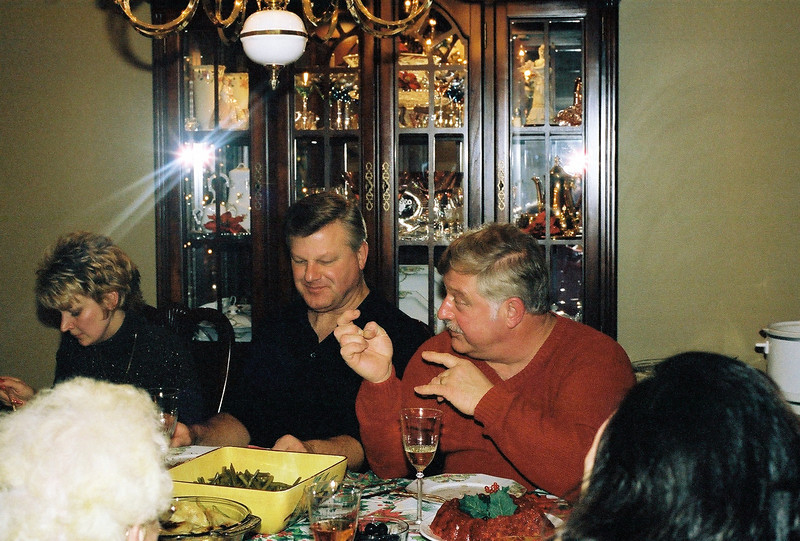 Aunt Karen, Uncle David and Dad at dinner