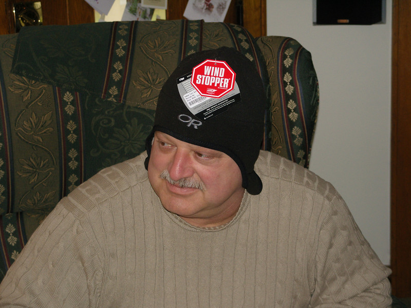 Dad in his new hat.