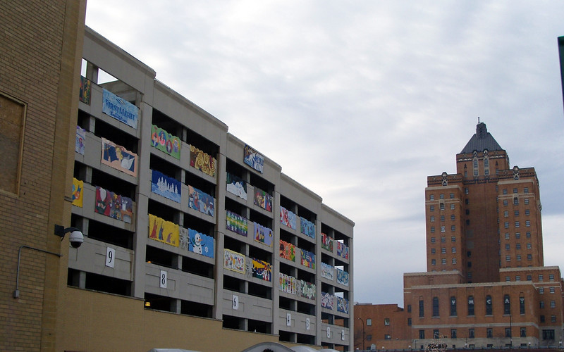 I like the banners on the parking deck.
