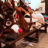 The reindeer heads on a bench.