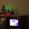 Little tree, Nativity and a Christmas Story playing on TV