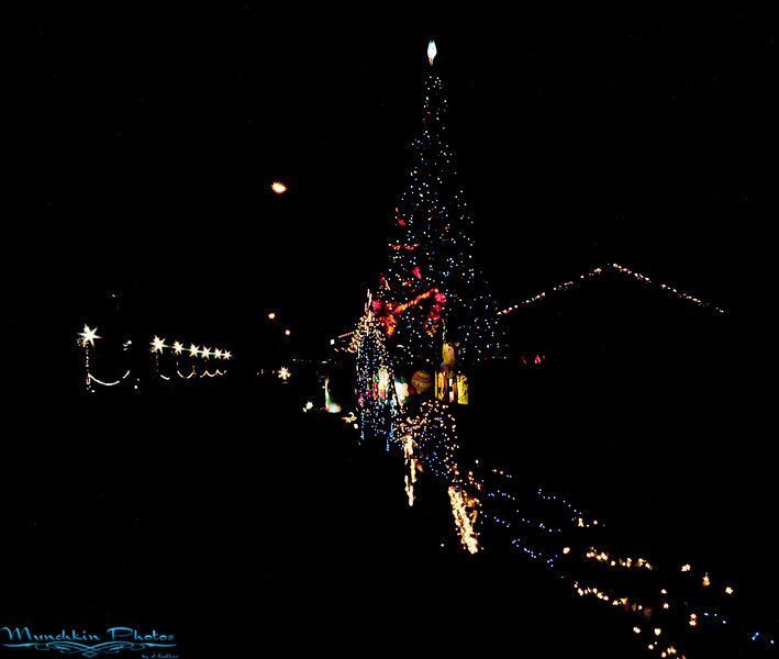 The lights by the train depot for the polar express