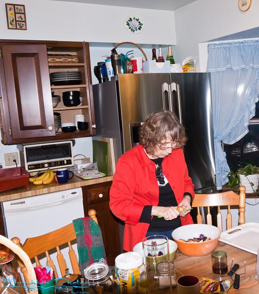 Jim's mom making dinner