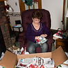 Mom opening her box of stuff.