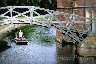 The mathematical bridge This bridge over the Cam was designed over two centuries ago out of straight pieces of wood - either tangential or radial, resulting in a self-supporting structure.  That's a bit of Queen's College on the right, and a punter taking two tourists for a ride.
