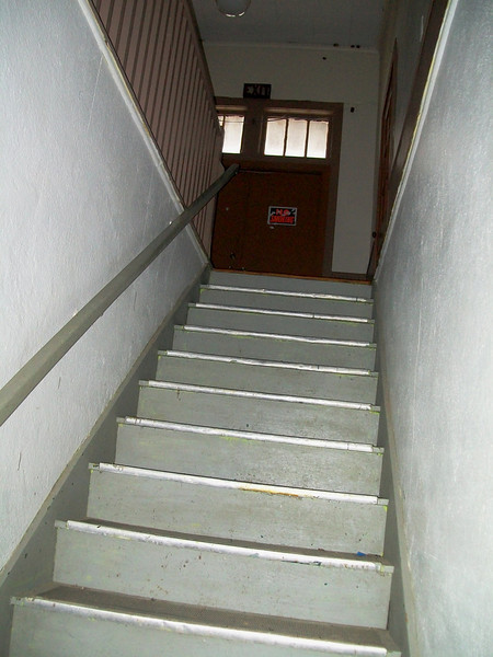 The staircase to the classrooms, gym and stage.