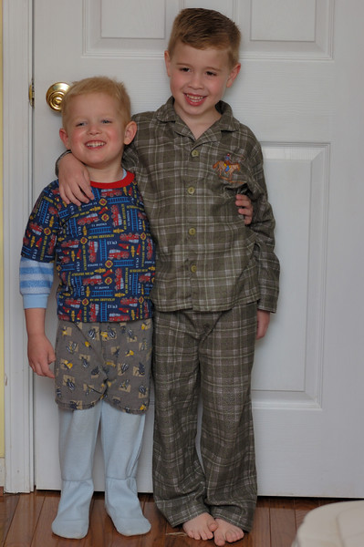 Gabriel and Hunter...Gabriel got himself dressed for bed!