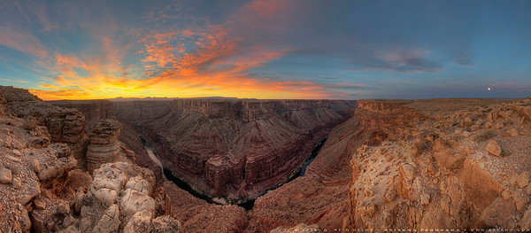 Sunrise and Moonset over Marble Canyon