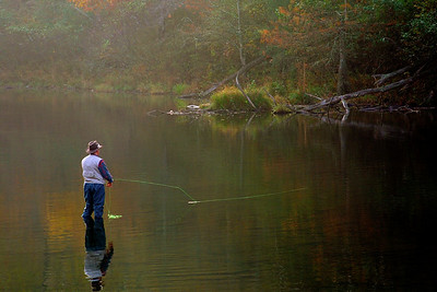 Early morning at Beaver's Bend in Southeastern Oklahoma. Fisherman get up early to catch fish in the streams here.