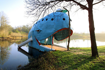 "The ""Whale"" - part of a small Park off highway 66 outside of Catoosa, Oklahoma. The whale is huge and uniquely built, and can be seen from space.  ""http://maps.google.com/?ie=UTF8&ll=36.193975,-95.732744&spn=0.003398,0.005423&t=h&z=18"