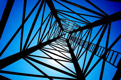 Looking straight up through an oil derrick tower. Woolaroc Wildlife Preserve.