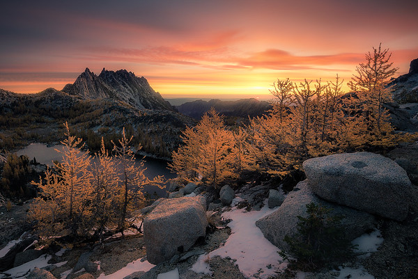 A burning sunrise high up in The Enchantments - Washington