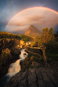 A gorgeous rainbow makes an appearance in Glacier National Park - Montana