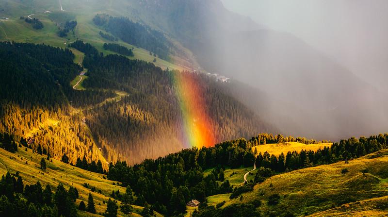 Rainbow over Canazei, Italy - Dolomites