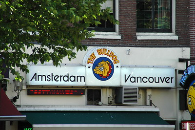 Vancouver had a Bulldog Restaurant for many years (now closed), hence the sign.  But they didn't smoke marijuana there, like they do at the one in Amsterdam.