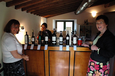 Pat & I at a tasting with our landlady at Poggerino