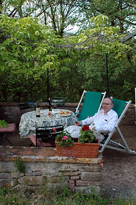 Bernd relaxing in our garden