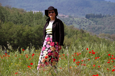 Pat in a field of poppies