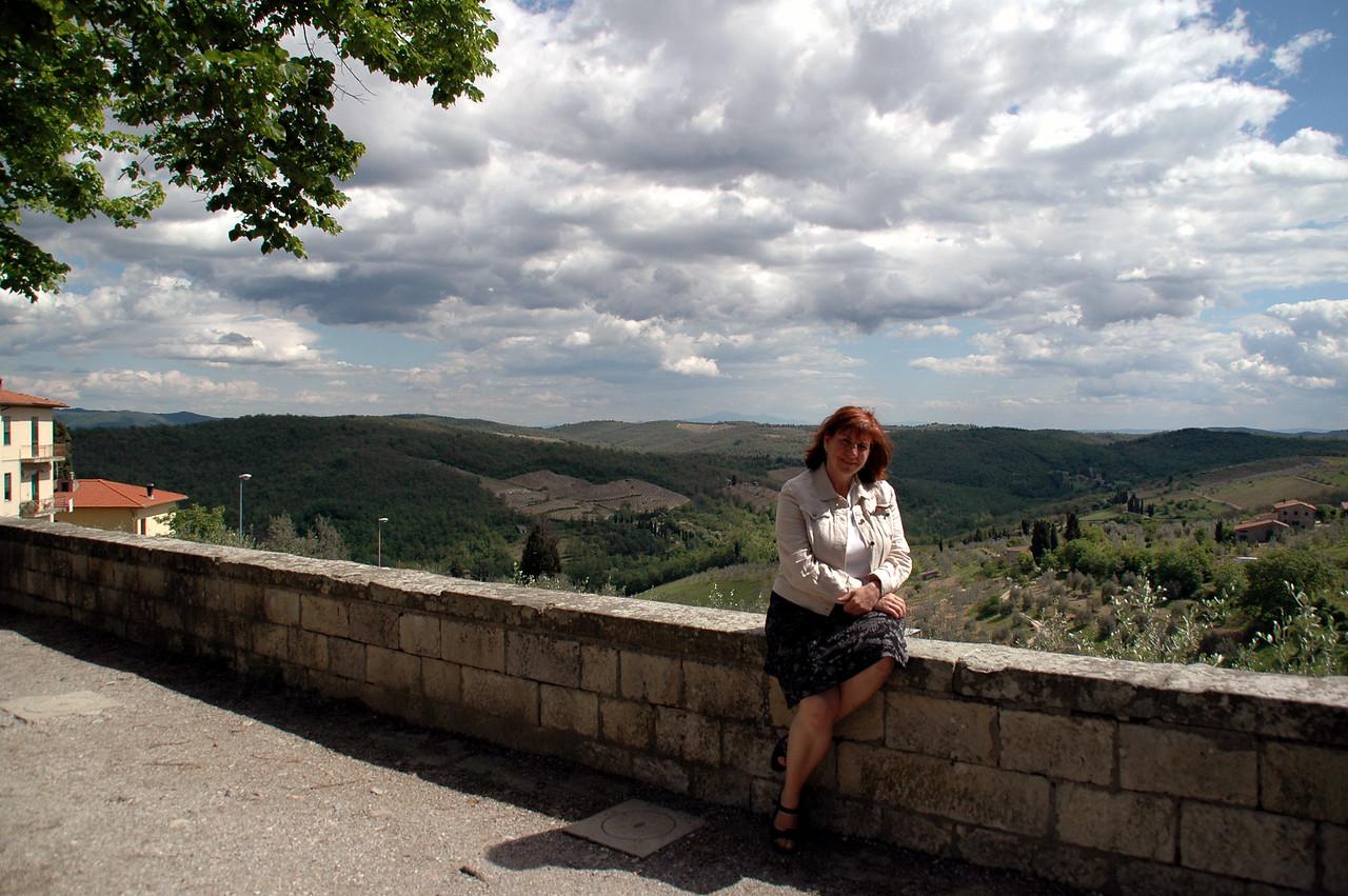 Paula resting for a moment in Radda in Chianti