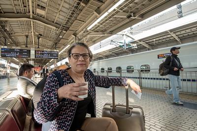 Waiting for the Bullet Train at Osaka