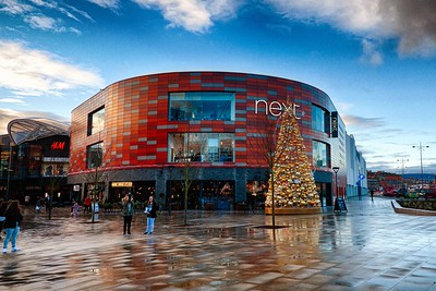 Christmas Trees 2015 Friars Walk Shopping Centre Newport Wales.
