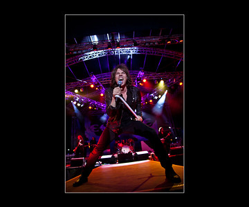 Europe vocalist Joey Tempest: headlining band at the 2014 Steelhouse Festival, Ebbw Vale in South Wales.