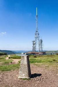 Mynydd Machen views -07 Transmitter masts and  Summit Trig point