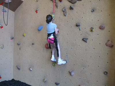 Anna's first climb on the rock wall