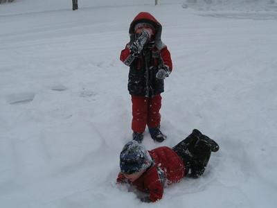 "Kellen ""swimming"" through the snow"