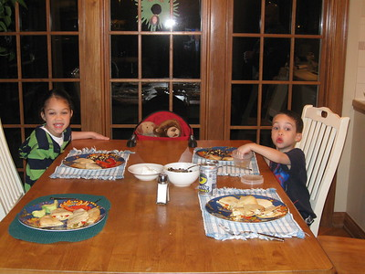 dinner with Cuddles and Rainbow (Kellen and Anna's class stuffed animals)
