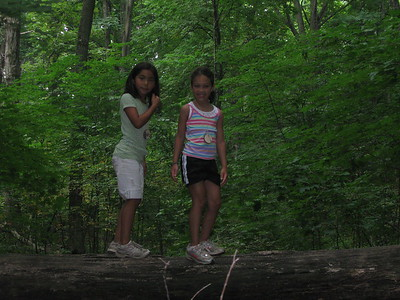 mia and anna showing us the special place in the forest