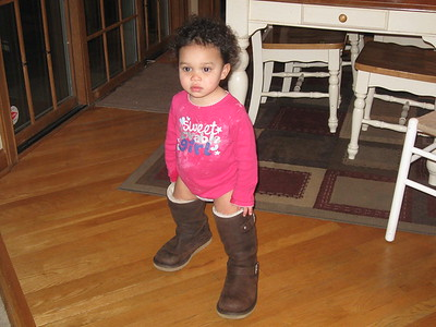 Megan in Aunt Leigh's boots