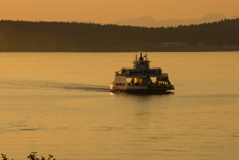 Steilacoom/McNeil Island Ferry, Steilacomm, WA.  Olympic Mountains in the background.