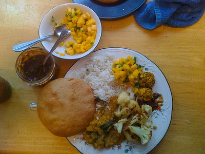 Mango Salsa, Dal, Roasted Cauliflower, Cabbage Croquets