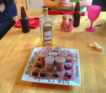 the last of lois' truffles - and pudding shots!