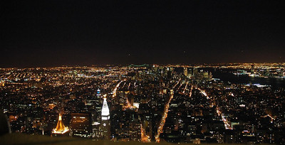 The View from the top of the Empire State building at night