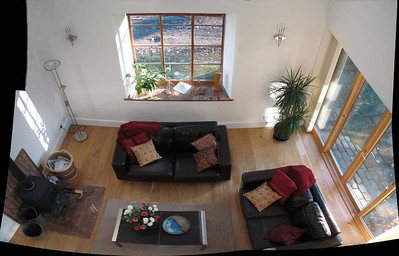 looking down into the living space of Orlege End