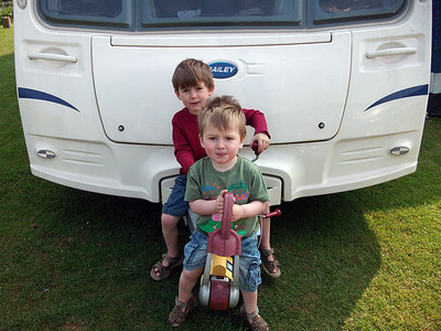 Benjamin & Toby at our caravan at the Vyrnwy Caravan Park