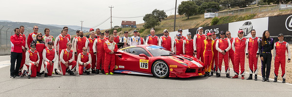 Group portrait of the drivers participating in the 2018 Ferrari Challenge at Weathertech Raceway Laguna Seca