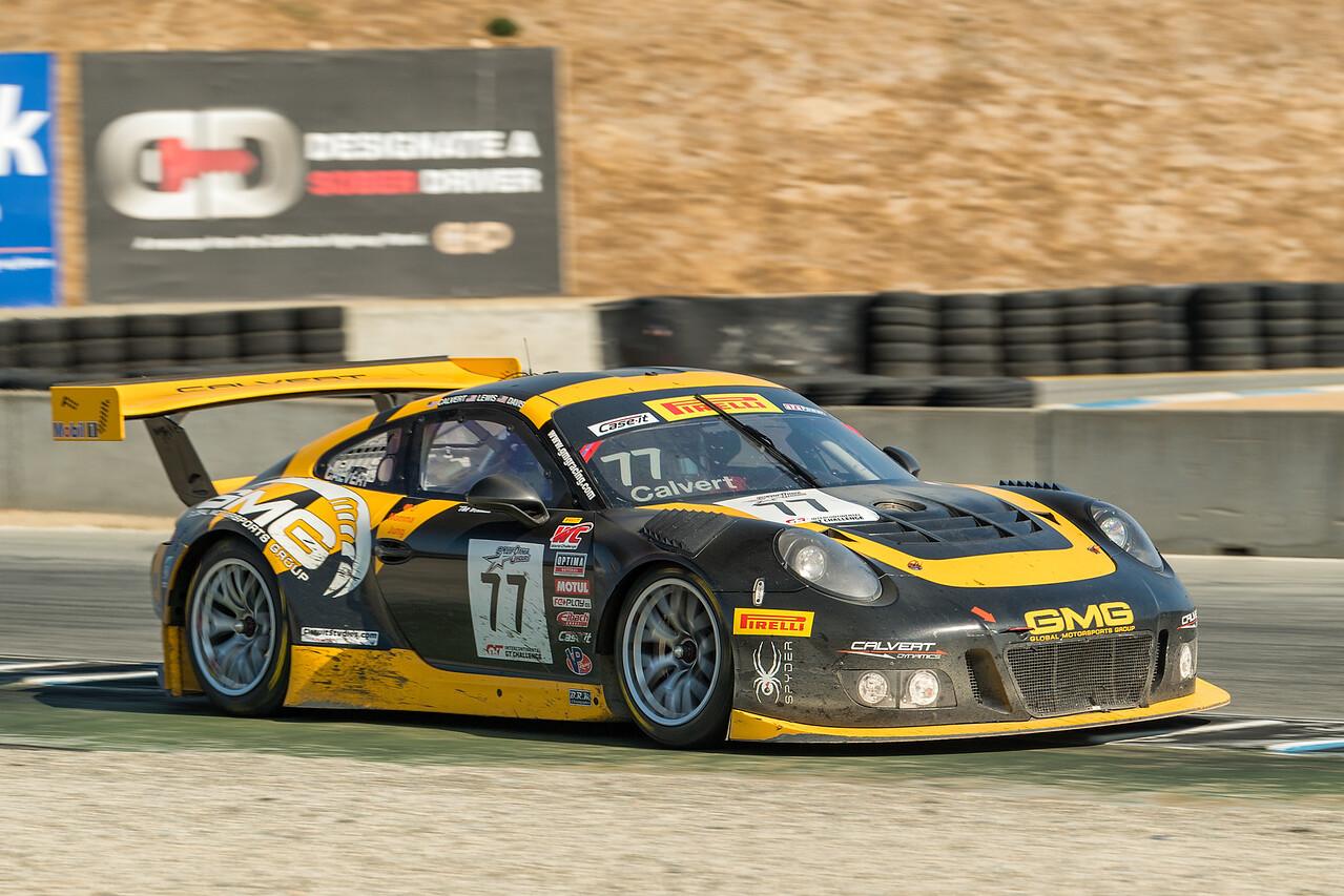 Calvert Racing Porsche 911 GT# accelerating out of Turn 11